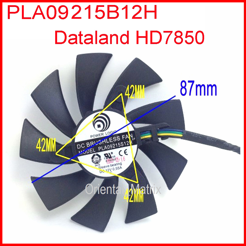 POWER LOGIC DC BRUSHLESS FAN PLA09215B12H 12V 0.55A 87mm 42x42x42mm HD7850 Graphics Card Cooling Fan 4Wire 4Pin