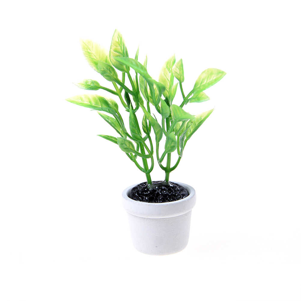 1/12 pot Dollhouse Miniature Green Plant in white  Garden Accessory