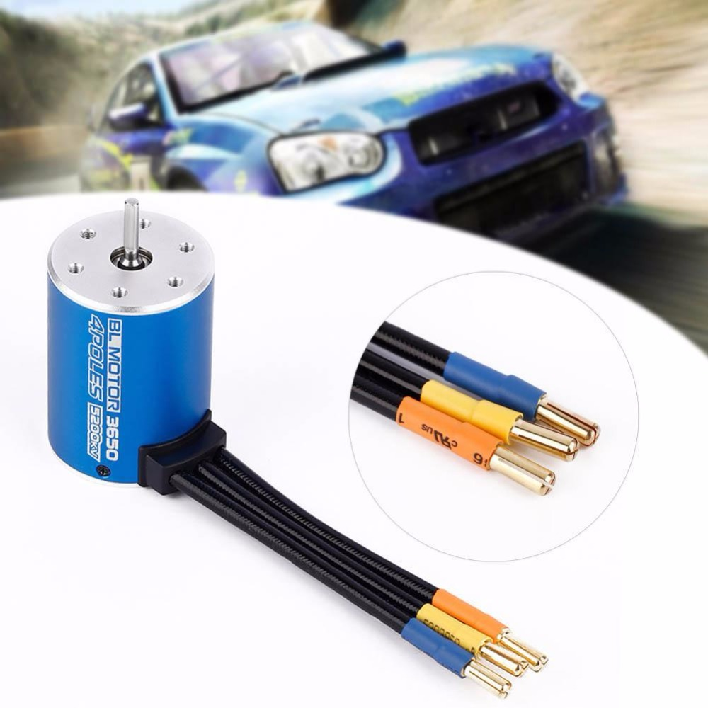 Efficient 3650 4 Poles 5200KV Brushless Sensorless Motor for 1/10 RC Car Boat 1 10 rc car 3650 senseless brushless 4300 3100 2050kv motor