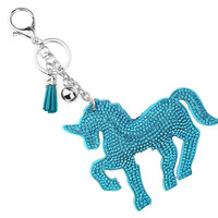 1PC Stylish Women Unicorn Horse Rhinestone Crystal Tassel Keychain Handbag Charm Key Ring