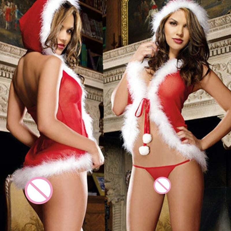 Women Sexy Set Erotic Net Yarn Plush Christmas Lingerie Babydoll Cute Lenceria Underwear Perspective Costumes Exotic Apparel VL