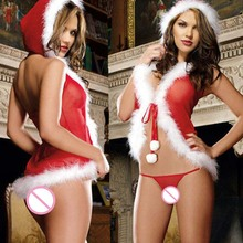 Women Sexy Set Erotic Net Yarn Plush Christmas Lingerie Babydoll Cute Lenceria Underwear Perspective