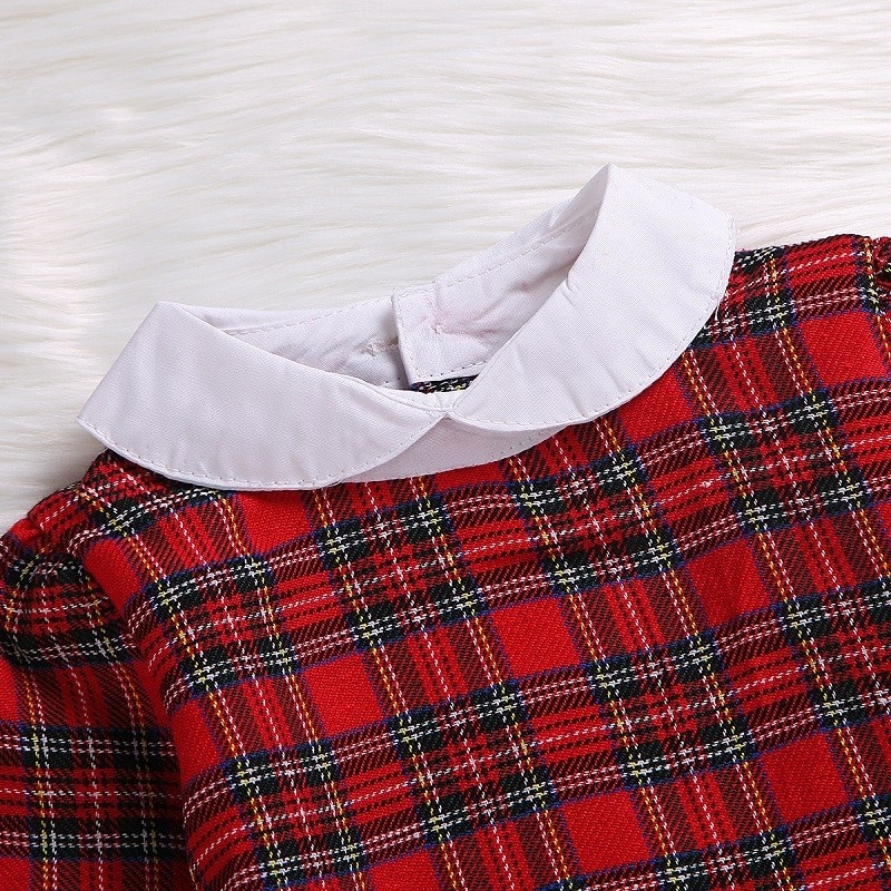 Infant Toddler Red Plaid Kid Baby Girl Long Sleeve Red Plaid Length Princess Dress in Dresses from Mother Kids
