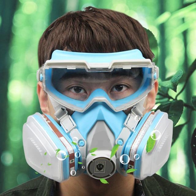 Masque à gaz avec lunettes plein visage masque de protection anti-poussière  peinture masques chimiques b6080b74bc25