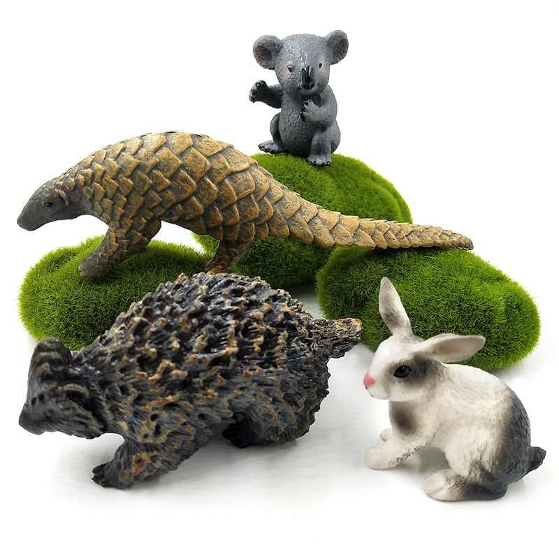 Wild New Koala Pangolin Rabbit Hedgehog Simulation plastic animals model figurine one piece  action figure Hot toys Gift For Kid