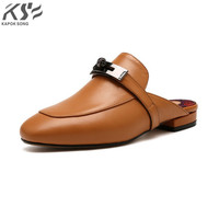 Kelly gürtel sandalen frauen wirklich genunie leder luxus designer frauen metallkette slippersummer schuhe dame slide sandalen