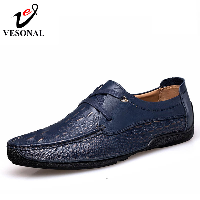 VESONAL 2017 Brand Casual Male Shoes Adult Men Crocodile Grain Genuine Leather Spring Autumn Fashion Luxury Quality Footwear Man vesonal 2017 quality mocassin male brand genuine leather casual shoes men loafers breathable ons soft walking boat man footwear