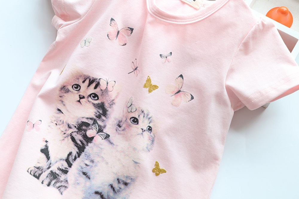 New Cotton Kids T-Shirt Children Summer Short Sleeve T-Shirts for Girls Clothes Cat Rabit Butterfly Baby T Shirt Toddler Tops 16