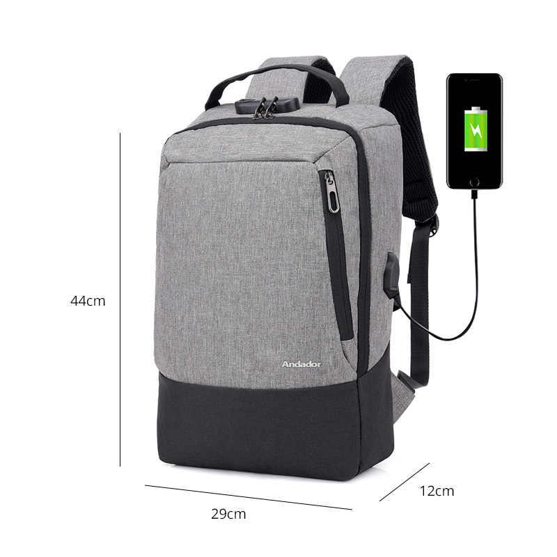 Модные мужские 15,6 дюймов usb зарядка анти кражи бизнес ноутбук рюкзак больше capaticy многофункциональные сумки для путешествий