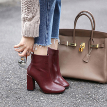 Genuine Leather Ankle High Heels Shoes