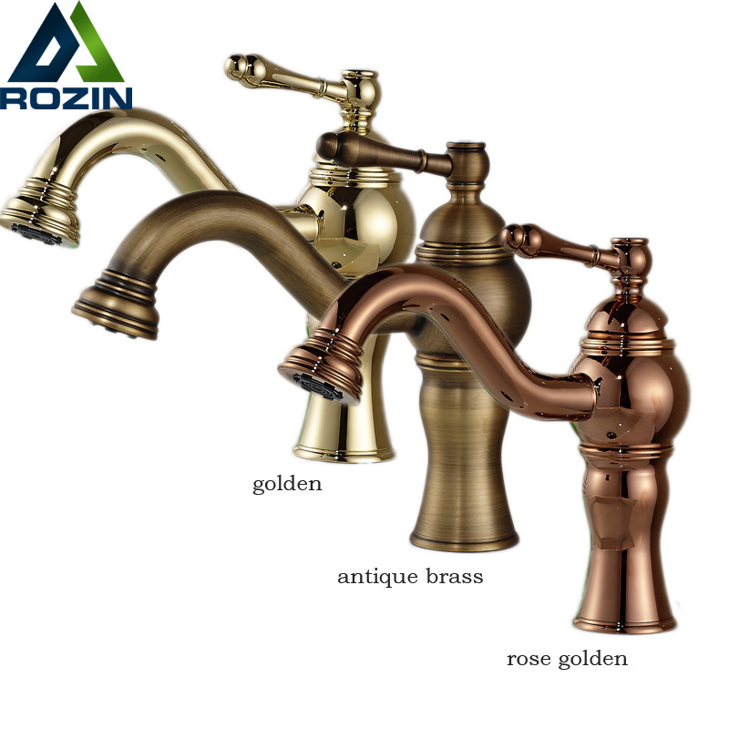 Golden Brass Bathroom Basin Mixer Single Lever Deck Mounted Washing Lavatory Sink Faucet Free Shipping цена