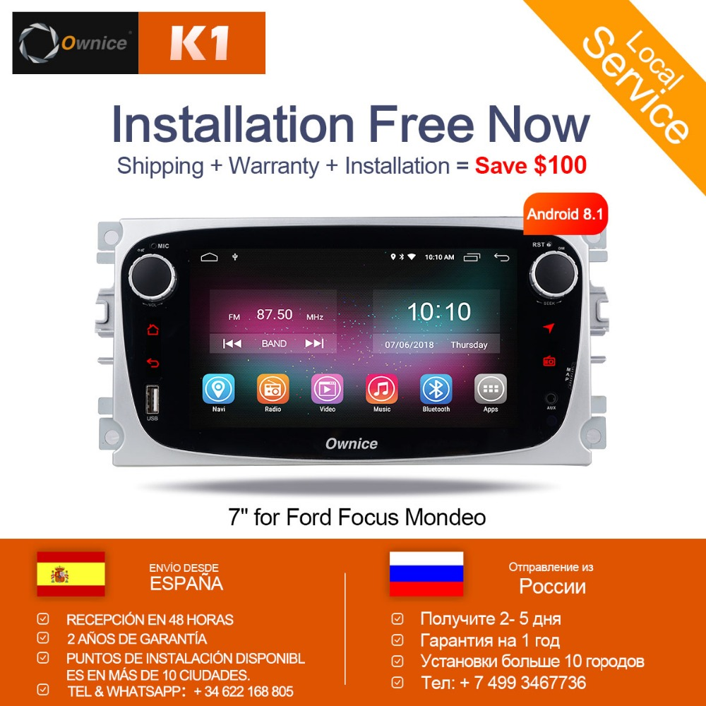 Ownice K1 Android 8.1 Car DVD Player 2 Din radio GPS Navi for Ford Focus Mondeo Kuga C-MAX S-MAX Galaxy Audio Stereo Head Unit цена 2017