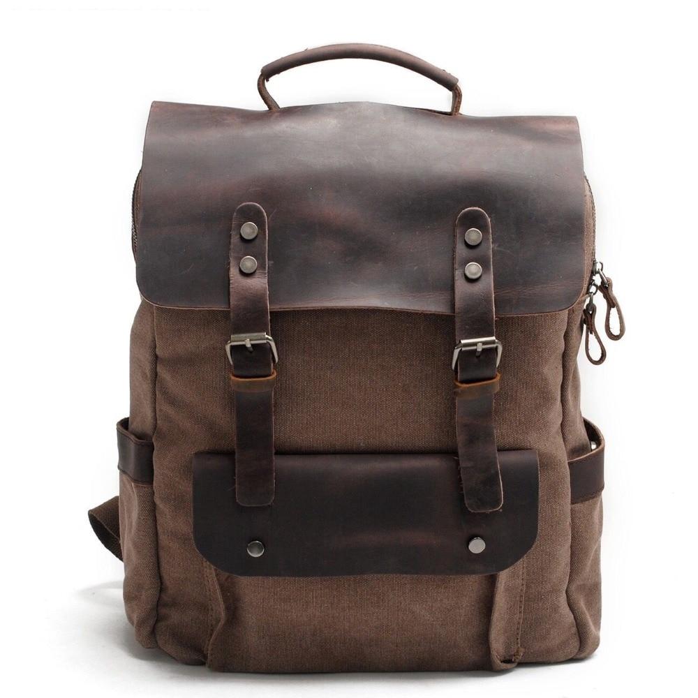 Men Canvas Backpack School Bags Laptop Backpack Male Vintage Military Crazy Horse Leather Shoulder Travel Bag Backpack Schoolbag #6