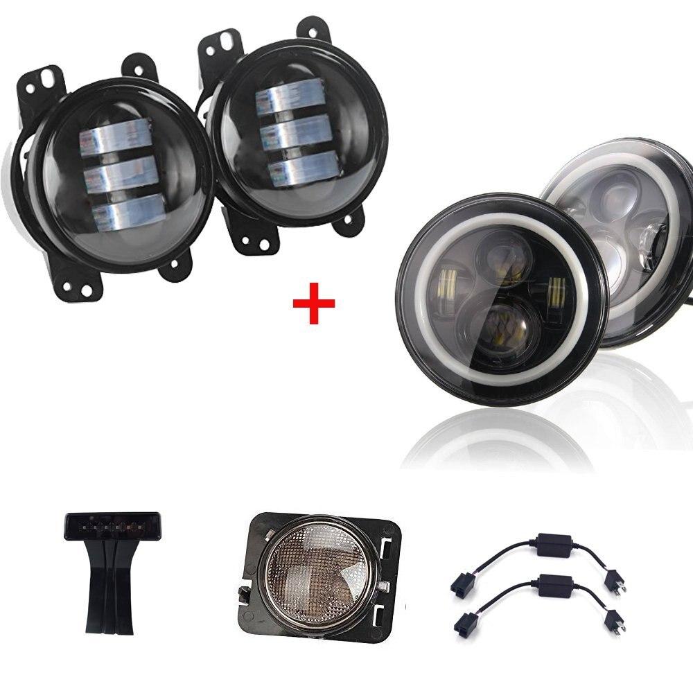 Pair 7 Inch Round LED Headlight White/Amber Halo+4inch 30w LED Fog Lights + LED Third Brake Lights+Side Maker Lights Je~p