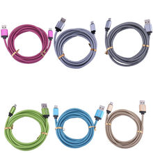 Micro USB Cable For Android Smart Phone Durable Metal Head Hemp Rope 25CM 100CM 200CM 300CM Data Charging Line 1Pcs