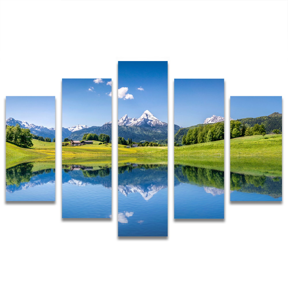 Unframed HD Canvas Painting Blue Sky Lake Meadow Mountains Picture Prints Wall Picture For Living Room Wall Art Decoration