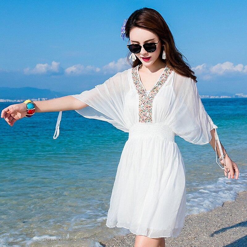 Robe Taille En Princesse Femmes See Soie Doux Plage Grande Décontracté Été Printemps Plus Long 2019 Boho Chart Bohème Sexy Blanc De Mousseline Robes rrgnwafqx