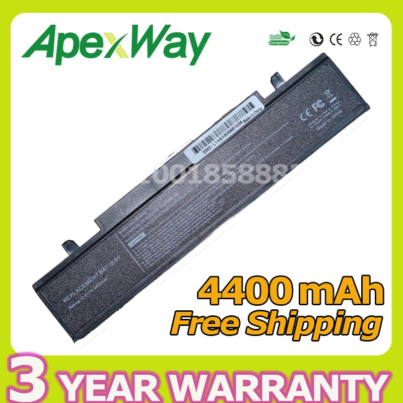 Apexway 4400mAh RV520 Battery for Samsung AA-PB9NC6B AA-PB9NC5B AA-PB9NS6W NP300E5A RF511 R425 R519 R468 RV428 RC530 np355v5c for samsung rc530 rc528 rf511 on a shell casing cover