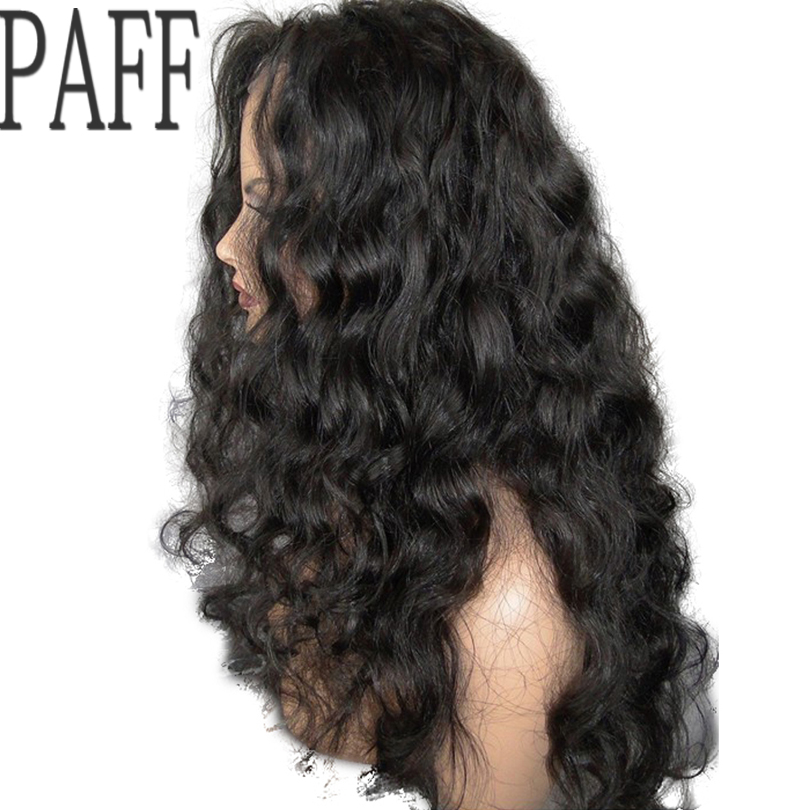 PAFF Loose Wave Lace Front Human Hair Wig Glueless Virgin Hair Brazilian 8-30inch Side P ...
