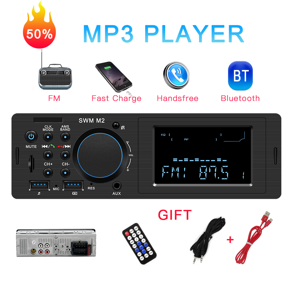 Car radio Bluetooth Autoradio 12V Car Stereo Radio FM Aux Input Receiver Charging SD USB In-dash 1 din Car MP3 Multimedia Player image
