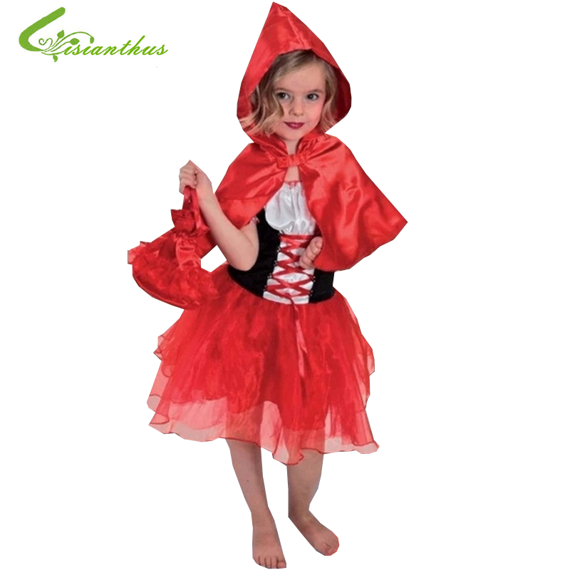 Girls Halloween Costumes Little Red Riding Hood Dress Cosplay Stage Wear Clothing Sets Kids Party Fancy Ball Clothes Free Ship trendy kids costumes girl maid cosplay fancy dress stage performance clothes children fantasia carnival costumes