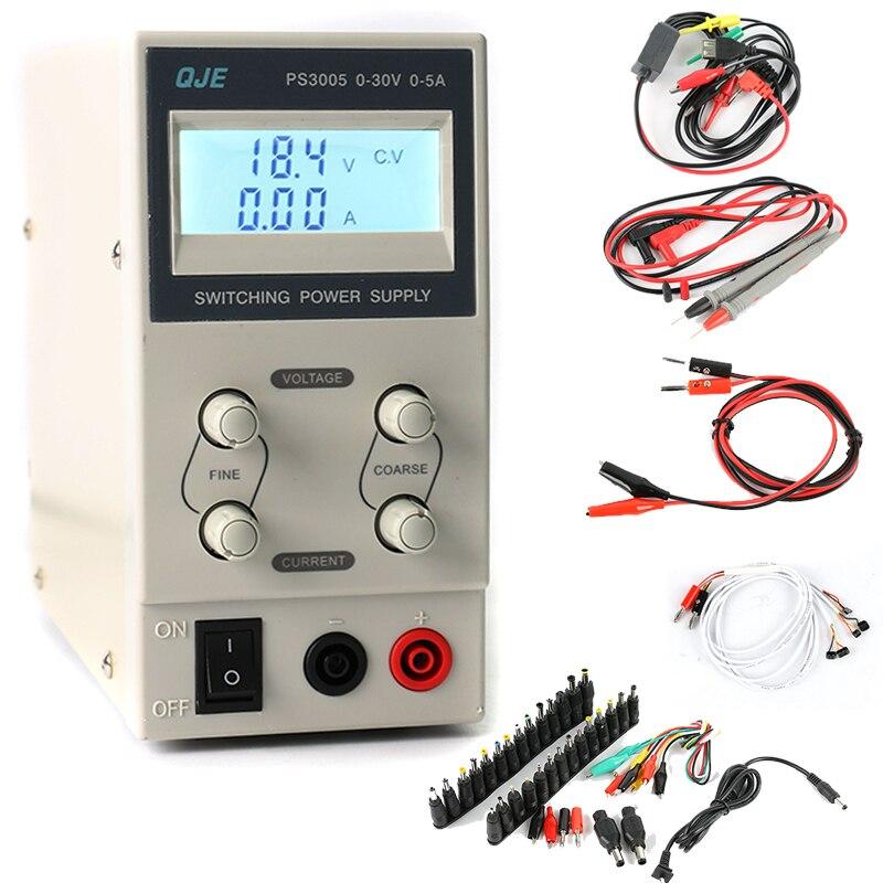 QJE 30 V 5A professionnel numérique réglable DC alimentation laboratoire alimentation à découpage DC JACK ensemble pour réparation de téléphone portable