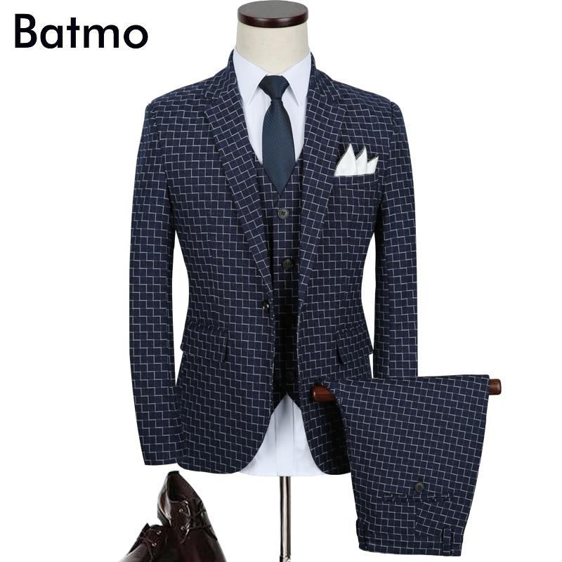Batmo 2018 new arrival autumn high quality plaid casual blue suits men wedding dress plus size