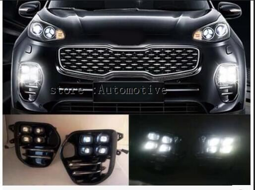 MotorFansClub LED Daytime Running Light Fog Light for Kia Sportage QL IV 2016 2017 DRL Driving Lights with Front Lamp Bezel
