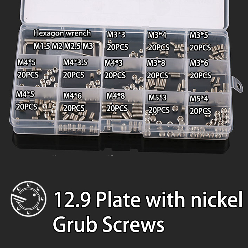 260Pcs M3 M4 M5 M6 12.9 Plate with nickel Metric Thread Grub Screws Flat Point Hexagon Socket Set Screws Headless Assortment Kit 260pcs m3 m4 m5 m6 12 9 plate with nickel metric thread grub screws flat point hexagon socket set screws headless assortment kit