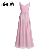 Vestido de festa Dress for Women Ladies Sleeveless Pleated V Neck Chiffon Long Dress Evening Party Prom Gown Dresses with Sash