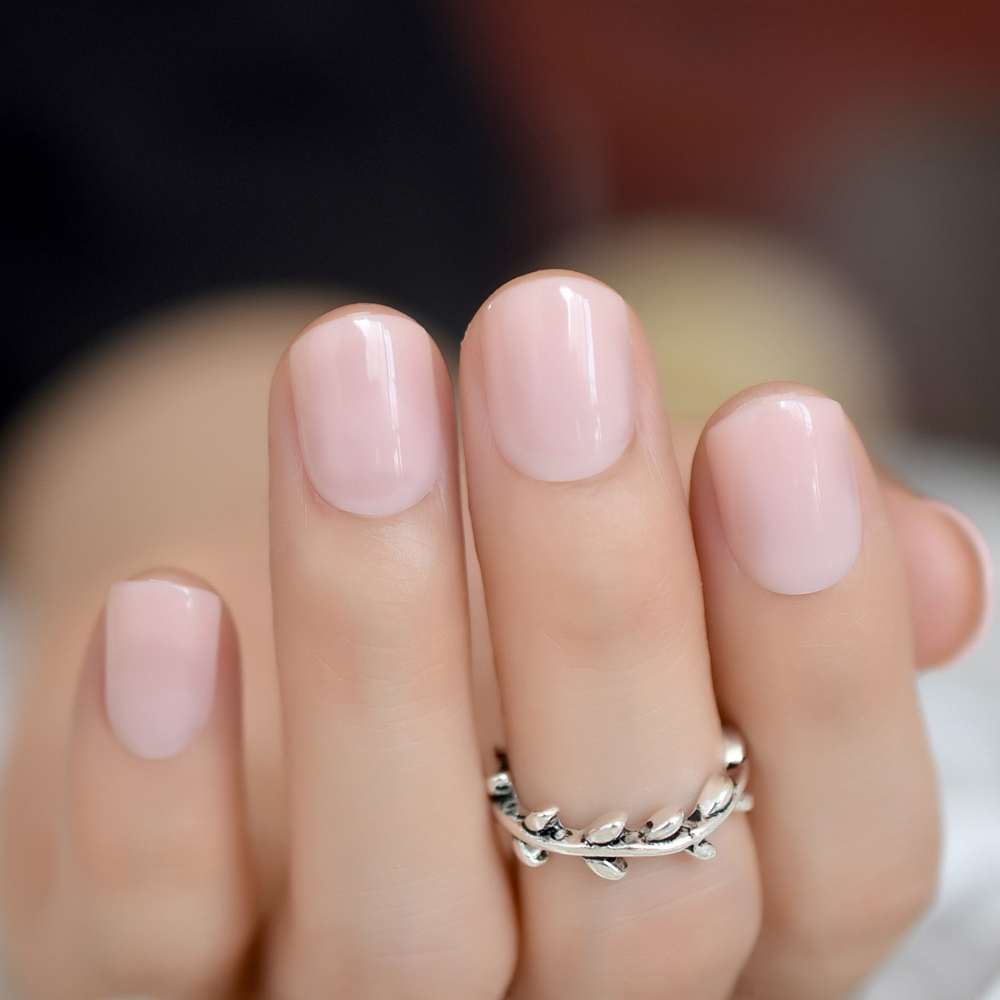Light Pink Candy Fake Nails Short Round Soft Pre-designed Nail Tips Concise Manicure Accessories Easy DIY Salon Products P01