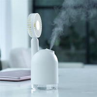 White Mini Portable Humidifier USB Car Mist Maker Aroma Essential Oil Diffuser Air Cooling Purifier with LED Light Handheld Fan