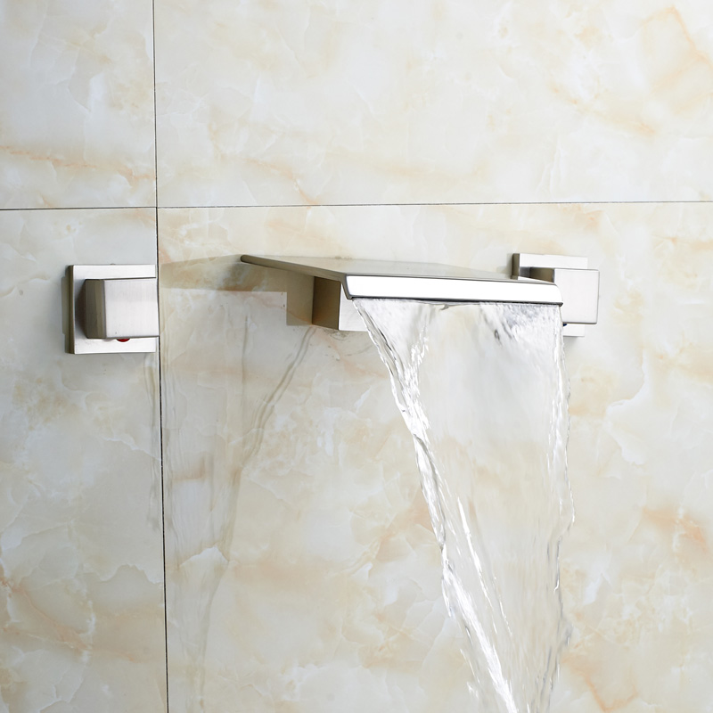 newly bathroom waterfall shower faucet dual handle shower mixers wall mounted brushed nickel finishin shower faucets from home improvement on