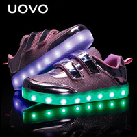 UOVO Girls Luminous Shoes USB Charger LED Light Shoes Girls Casual Sneakers Kids Sports Shoes Eur