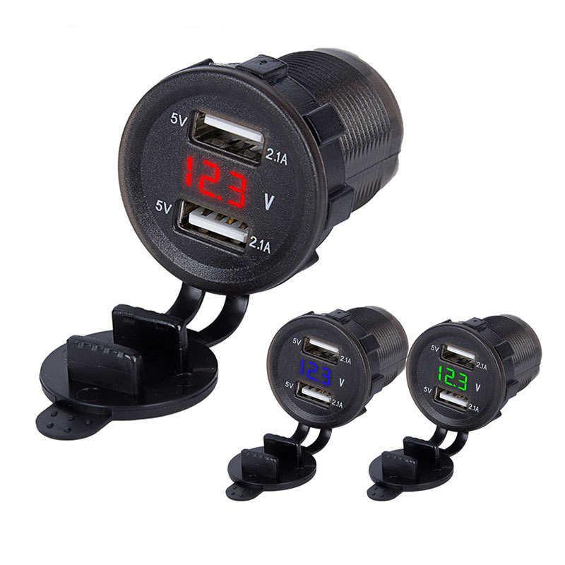 Dual USB Port Car Charger Cigarette Lighter DC 12-24V 4.2A  Digital Voltmeter Meter Monitor Socket Power Adapter with LED