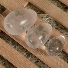 Jade Egg 3 pcs Drilled Crystal Balls Natural Quartz Yoni Eggs for Kegel Exercise Healing Reiki for Women Health Care