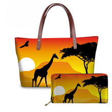 NOISYDESIGNS 2pcs/set Handbags&Purse for Women African Animal Elephant Sunset Printed Travel Top-Handle Bags Bolsa Feminina 2019