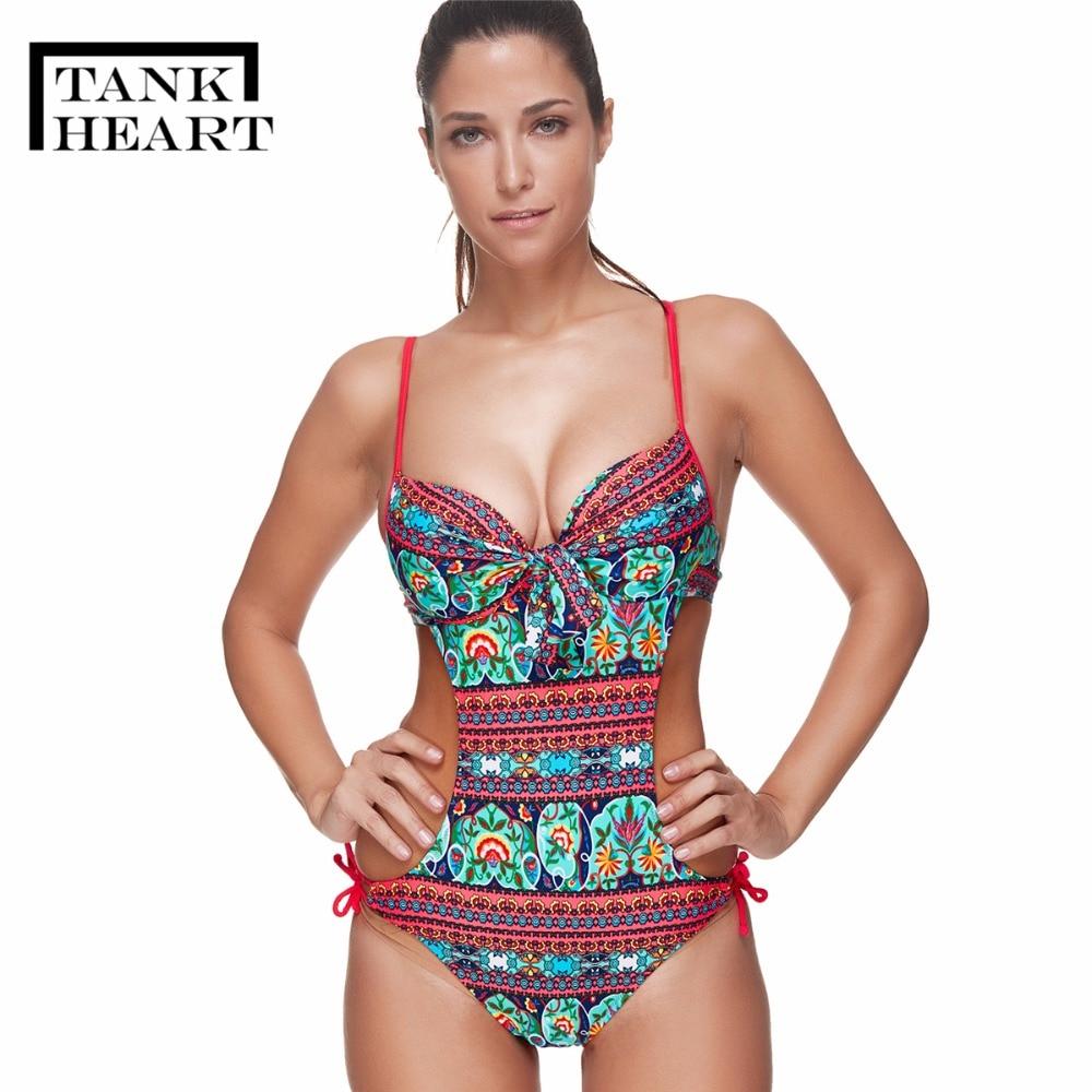 ded385c4d6de5 Tank Heart Plus size Swimwear Women One Piece Swimsuit Bodysuit Brand  Vintage Bathing Suit Monokini Swimming Suit For Women XXXL-in Body Suits  from Sports ...