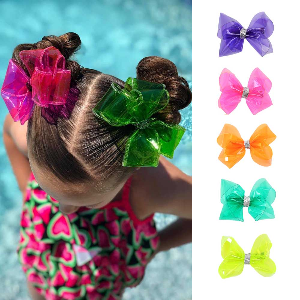 "Ncmama 4"" Waterproof Jelly Bows Hair Bows For Girls With Clips Glitter Knot Pool/Swim Bows Solid Hairpins Fashion Kids Headwear"