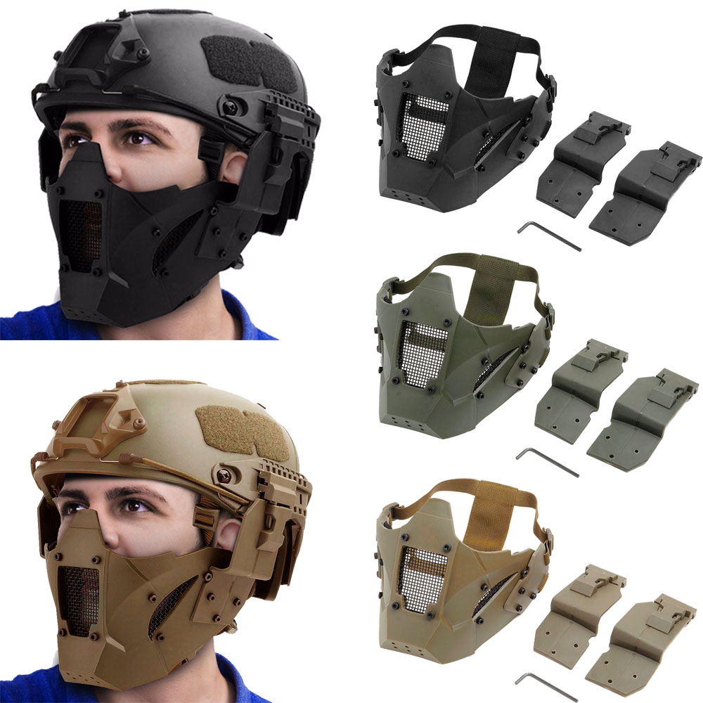 Tactical CS Half Face Mask Airsoft Paintball Hunting Mask Military Game Protective Face Mask Combat Airsoft Accessory headpiece