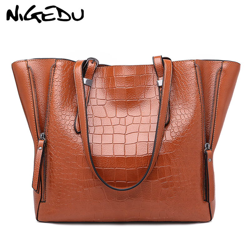 Crocodile Women Handbags Big Tote Bags shoulder bags woman brand famous PU Leather Female Handbag Large Capacity Ladies Hand Bag instantarts famous brand women s large handbags cute animal cat dog shoulder bag ladies big tote bag designer women top hand bag