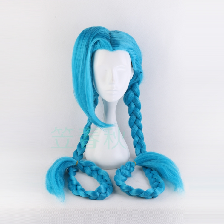 """120cm/46.8"""" LOL Jinx Cosplay Wig Jinx Blue Braids The Loose Cannon Wig With Blue Plaits Jinx Hair Costumes Free Shipping"""