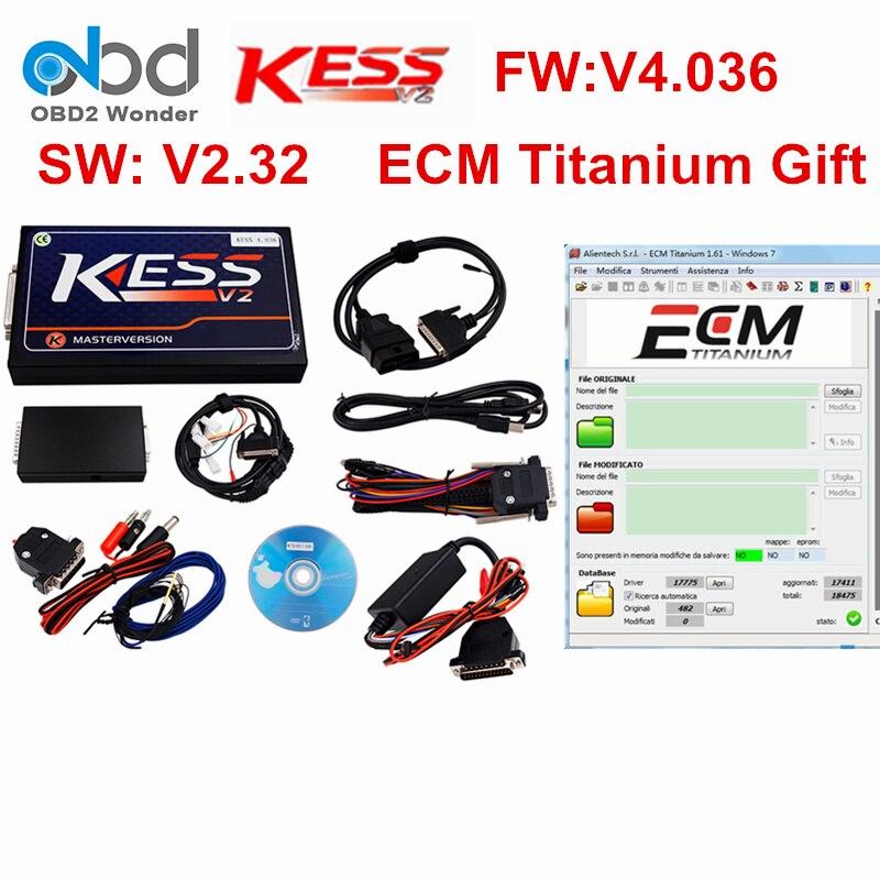 Цена за Новинка 2017 года KESS V2 мастер OBD2 менеджер Тюнинг Комплект KESS HW V4.036 SW V2.32 OBDII ECU чип инструмент настройки без маркеров предел ECM Титан