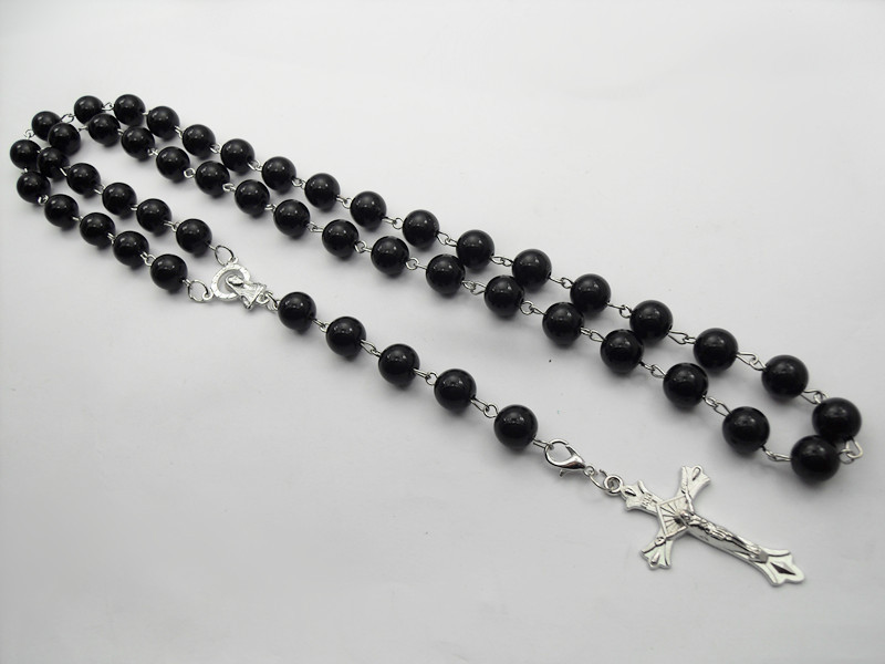 New black plastic rosary rosary beads necklaces for men for Best mens jewelry sites
