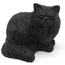 3.66Natural Gemstone Black Obsidian Sitting Cat Hand Carved Animal Statue Decor