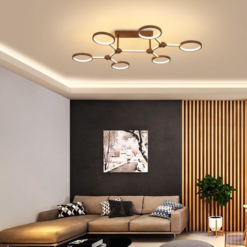 2019 New Design Aluminum rings Modern Led ceiling lights For Livingroom Bedroom led avize Brown frame led ceiling lamp2019 New Design Aluminum rings Modern Led ceiling lights For Livingroom Bedroom led avize Brown frame led ceiling lamp