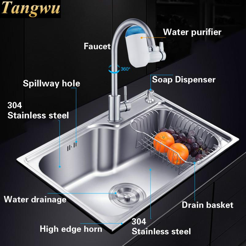 Free shipping fashionable kitchen sink luxurious 08mm thick food free shipping fashionable kitchen sink luxurious 08mm thick food grade 304 stainless steel single slot hot sell 62x4468x44 cm in kitchen sinks from home workwithnaturefo