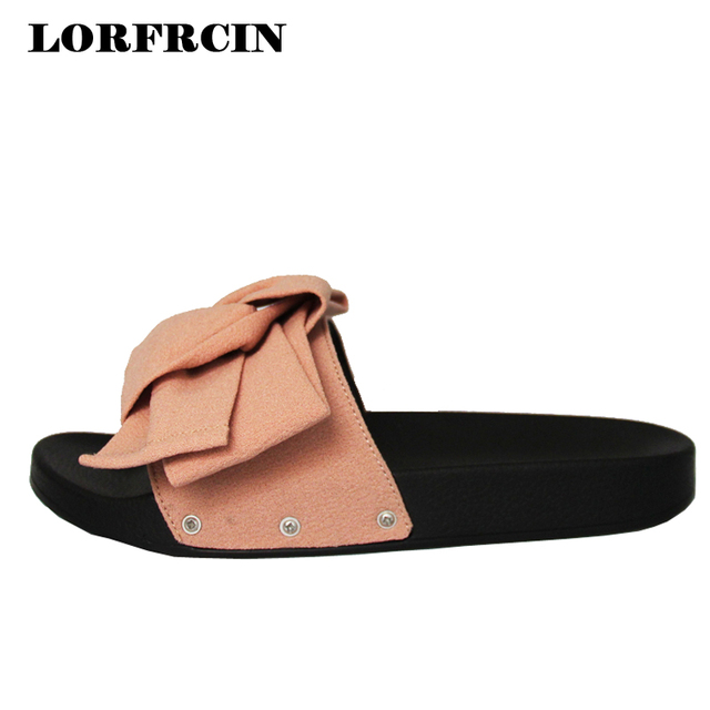 8db6e197f LORFRCIN 2017 New Flip Flops Big Bow Women s Sandals Summer Women Shoes  Open Toe Woman Flats Black Ladies Shoes Beach Slippers