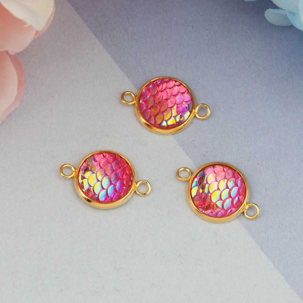 DoreenBeads Iron Alloy & Resin Mermaid Fish / Dragon Scale Connectors Round Golden AB Color 21mm( 7/<font><b>8</b></font>