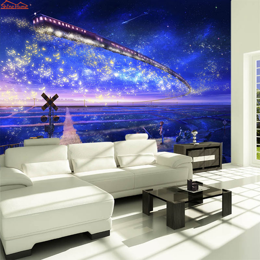 Large Fantasy Star Cartoon Train 3D Room Embossed Wallpaper for Livingroom 3 d Wall Paper Background Covering Murals Rolls Art shinehome abstract brick black white polygons background wallpapers rolls 3 d wallpaper for livingroom walls 3d room paper roll